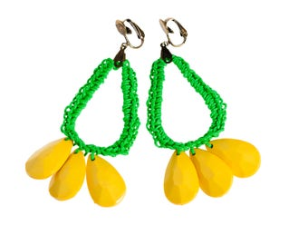 Clip On Boho Earrings, Greenery Statement Earrings, Large Drop green and yellow earrings, handmade summer party earirngs