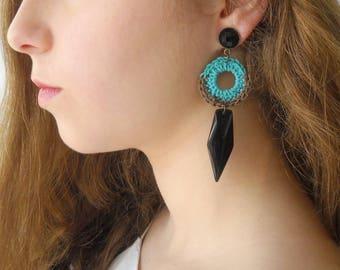 Clip On Earrings, Turquoise Boho Earrings, Black Spike Dagger Edgy Earrings, Statement Tribal Jewelry