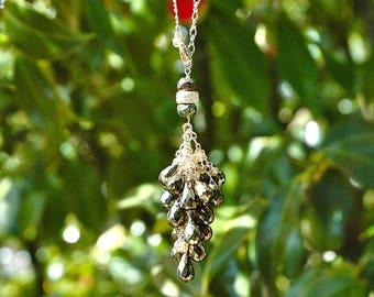 Gold Pyrite & Color-Change Garnet Tassel Necklace / 14k Gold / Adjustable / Teardrops / Wire Wrapped / Gemstone / Gifts for Her / OOAK