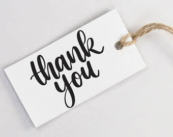 Custom Hand Lettered Thank You Stamp - Calligraphy Thanks Stamp with Handle