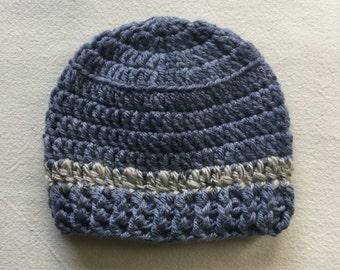 OOAK, Baby Boy Winter Hat, Natrual Baby Hat, New Born Crochet Hat,  Super Wash Merino Wool Baby Hat, Baby Boy Hat, Blue and Grey Winter Hat