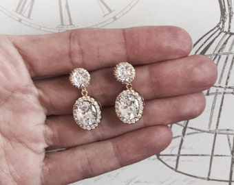 Vintage Style Bridal Earrings Wedding Jewelry Faceted Cubic Zirconia Tear Drop Crystal Earrings Crystal Earrings Wedding Earrings
