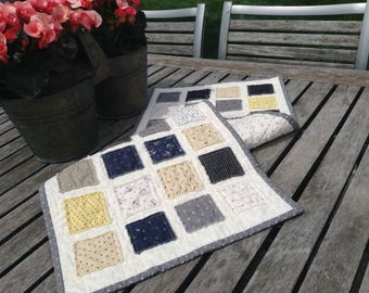 "QUILTED RAGGY PATCHES Tablerunner,  13 1/4"" x 34"",  Beach House Decor, Grey, Black, Navy, Yellow,  Machine Quilted, Raggy Edges, Handmade"