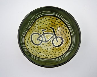 Small Ceramic Bowl - Bicycle Bike - Pottery Bowl - Clay Cereal Bowl - Girlfriend Gift -  Small Dish - Green - Majolica - Small Serving Bowl