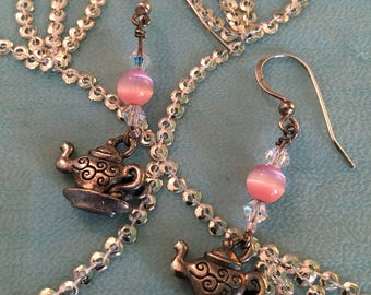 Tea Pot earrings, pair, pink stone and crystals, metal TEA POTS and teacup, pair of dangly Tea earrings, GIFT