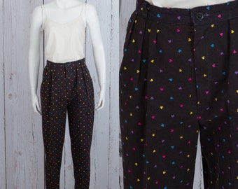 vtg 80s high waist cropped pants | novelty print hearts capris