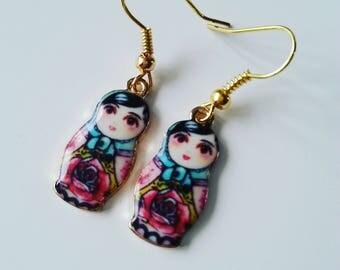 Babushka, Russian Doll, Matroyska, Earrings, Folk, floral, mix colour, by NewellsJewels on etsy