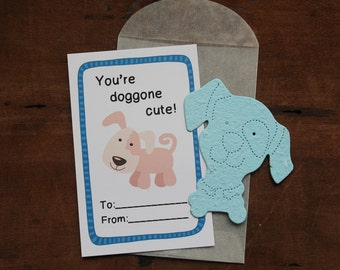Dog Valentines- SET OF 8 - includes color printed card, seed paper, and glassine envelope- choose from 16 seed paper colors