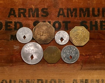 7 Vintage Coal Miners Scrip Token / Tokens / Miners Currency / Coin / Money