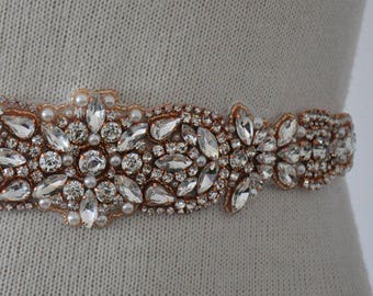 Rose Gold Bridal Sash,Champagne Bridal Sash,Rhinestones Bridal sash , Wedding Sash crystals, Wedding crystals Belt, crystal rhinestone belt