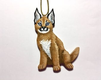 Caracal Kitten Ornament - Handmade Handpainted Wood Exotic Cat Christmas Ornament - Baby Caracal Cat Christmas Tree Holiday Home Decoration