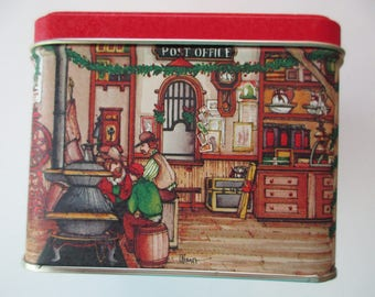 vintage Christmas DECORATIVE TIN - made in USA, Post Office, general store