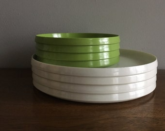 vintage oblique green round stacking trays set of 4