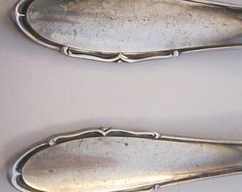 vintage silver plated serving pieces - EKA 90 - large serving spoon and salad serving fork