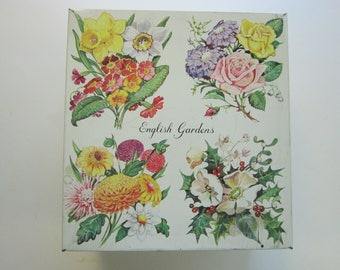rare vintage ENGLISH GARDEN tin with planting calendar - Elkes biscuit tin - floral, flowers