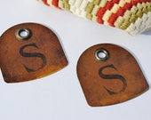 Large Metal Tags - S, Initial S, Metal Tags, Mixed Media Supplies, Assemblage Art, Industrial, Letters