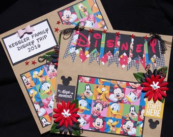 Disney Custom Family Name and Year 2~12x12 Premade Scrapbook Layouts
