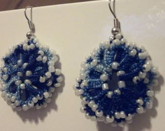 Variegated blues tatted lace and bead earrings