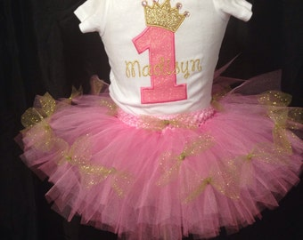 Pink and gold 1st Birthday princess outfit with Tutu