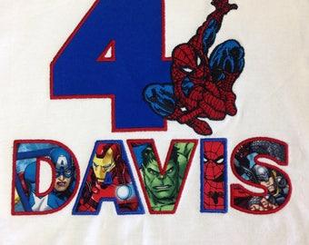Spiderman Superhero Birthday Shirt