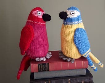 Tropical parrot toy knitting pattern - PDF - cute bird - scarlet Macaw - easy beginners knit
