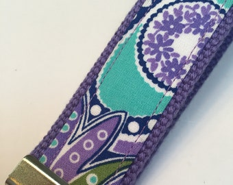 Key fob made with vera bradley fabric in lavender paisley