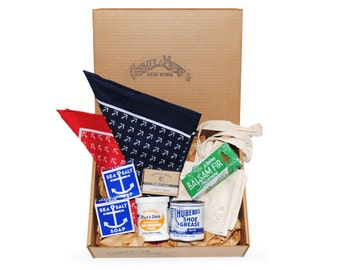 QMC Holiday Gift Box: Balsam Fir Incense, 2 Sea Salt Soaps, Otter Wax, 2 Bandanas, QMC Tote, Huberd's Shoe Grease, Black & White Pomade