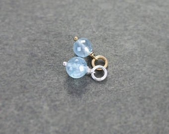 Aquamarine Charm Pendant, Sterling Silver or 14k Gold Filled Small Faceted March Birthstone - Add a Dangle