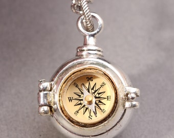 Compass Locket Steampunk Necklace Silver Poison Necklace Working Compass Necklace