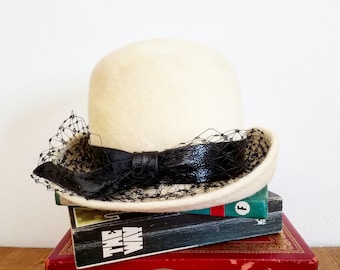 Vintage 1950s Cream Faux Fur Deborah Exclusive Crevi Italy Fedora Style Hat