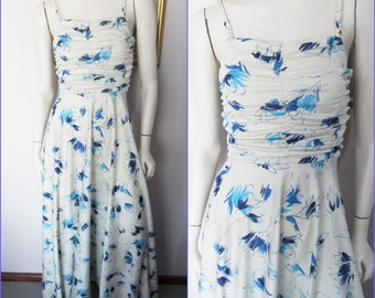 Vintage 70s Pearl White Blue Abstract Print Ruched Bodice Maxi Dress.S/M.Bust 34-38.Waist 26-30.