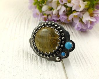 Rutilated quartz ring , sterling silver ring ,  turquoise metalwork ring , gemstone jewelry , adjustable ring, modern assymetric ring