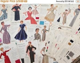 HALF PRICE SALE Vintage 1950s Fashion Frocks Illustrations Pdf - Salesman Sample Cards Collection 80+ - Instant Download