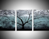 extra large wall art Original acrylic paintings on canvas abstract triptych landscape tree of life painting large wall art Modern 3 big size