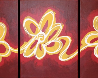 """Wall triptych art """"floral delight"""" red edition modern painting Abstract Painting flower floral art  huge wall art large 48 x 20 """""""