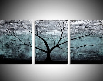 extra large wall art Original acrylic turquiose paintings on canvas abstract triptych landscape tree of life painting Modern 3 big size