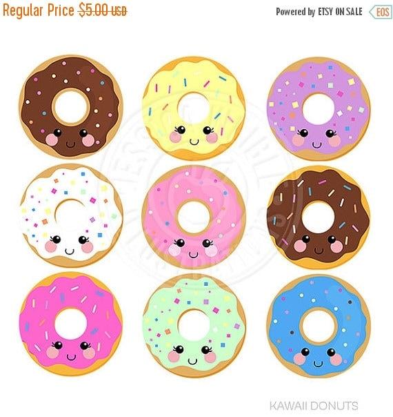 ON SALE Kawaii Donuts Cute Digital Clipart by JWIllustrations