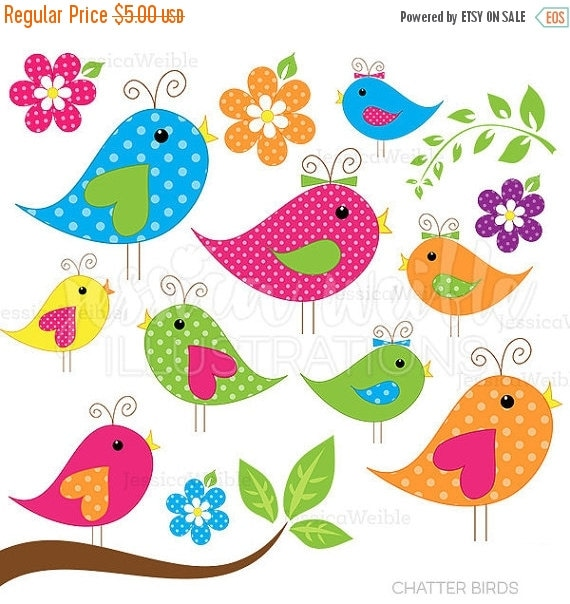 ON SALE Chatter Birds | Cute Clipart | Bird Clip Art | Bird Graphics | Stock Clip Art | Commercial Use Clipart | Instant Download | Vector A