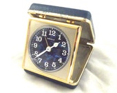 Blue Caravell Travel Clock, Vintage Alarm Clock in a Fold Up Case (H4)