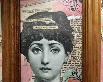It will Be Ok An Original Mixed Media Framed Collage Original Victorian Collage By Alteredhead On Etsy Artwork Assemblage ETSY  COLLAGE