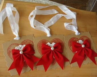 valentine's day gift tags hearts paper ornaments kraft party favors tags package ties shabby chic tag ornament