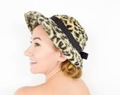 60s Leopard Print Hat   Wide Brim Animal Print Hat