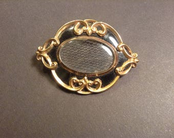 Antique Mourning Pinchbeck Brooch