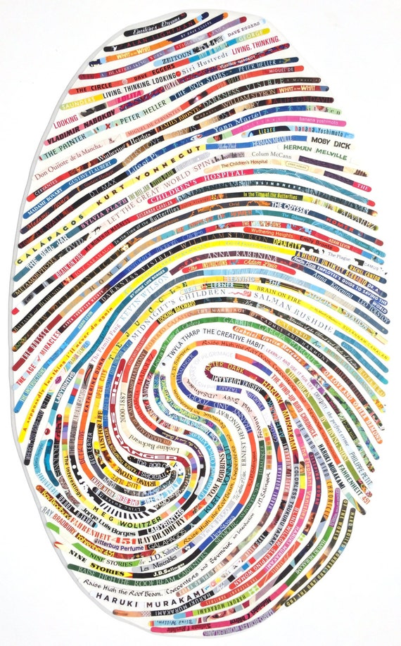 Large Modern Custom Portrait  for the Book Lover / Avid Reader - Using Your Own Unique Thumbprint Pattern and Your Favorite Book Titles