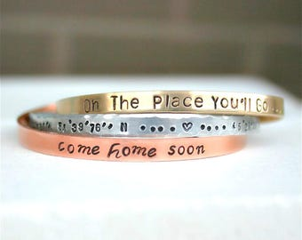 Custom Stamped Bracelet, Home Bracelet, Gift for Mom, Personalized Cuff Bracelet, Message Cuff, Coordinates Bracelet, Silver, Copper, Gold