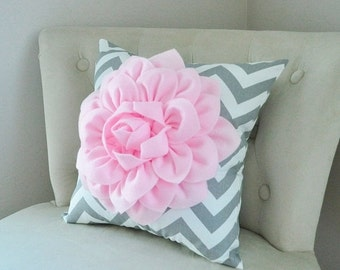 SALE Baby Nursery Decor Light Pink Dahlia on Gray and White Chevron Pillow -Pink Grey Nursery - New Baby Gift, Baby Shower Gift