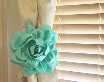 SALE TWO Dahlia Flower Curtain Tie Backs Curtain Tiebacks Curtain Holdback -Drapery Tieback- Baby -Nursery Decor- Mint Green Decor