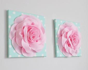 Nursery Wall Art, Bed of Roses  Pink White Mint Wall Art Girls Room Artwork Baby Girl Nursery Toddler Girl Nursery Wall Art, Seafoam Green