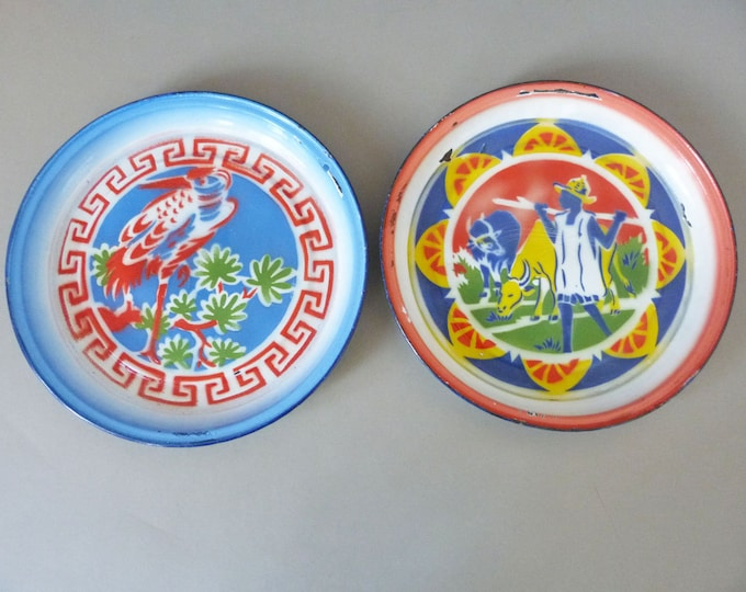vintage chinese large enamel plates / wall decorations Bumper Harvest