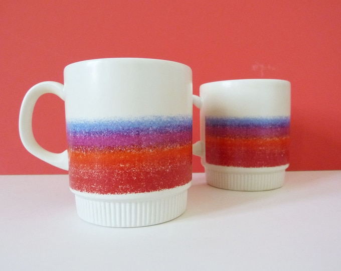 1970's sunset stripe mugs - Poole potteries
